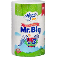 Полотенца бумажные Мягкий знак Мистер Биг белые 2-х слойные 1 рулон
