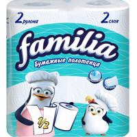 Полотенца бумажные Фэмили белые 2-х слойные 2 рулона