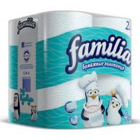 Полотенца бумажные Фэмили белые 2-х слойные 4 рулона