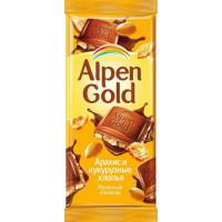 Шоколад Альпен Гольд молочный арахис и кукурузные хлопья 85г