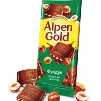 Шоколад Альпен Гольд молочный с фундуком 90г
