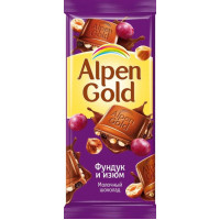 Шоколад Альпен Гольд молочный с фундуком и изюмом 90г