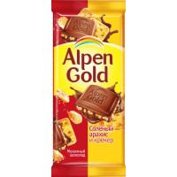 Шоколад Альпен Гольд молочный с соленым арахисом и крекером 85г