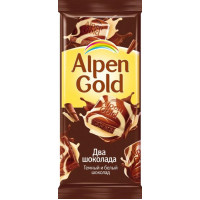 Шоколад Альпен Гольд темный и белый 90г