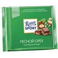 Шоколад Риттер Спорт молочный с дробленным лесным орехом 100г