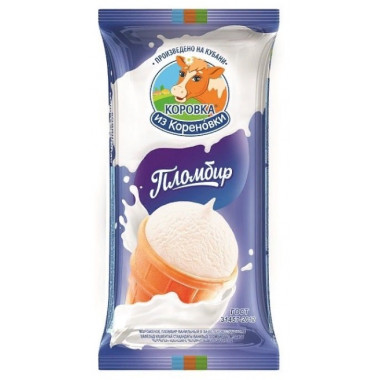Мороженое Коровка из Кореновки пломбир в ваф, стаканчике 100г
