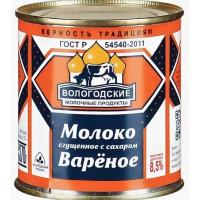 Молоко Вологодские МП сгущенное вареное с сахаром 370г ж/б