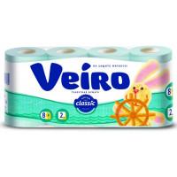 Бумага туалетная Виеро Классик голубая 2-х слойная 8рулонов