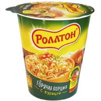 Лапша Роллтон с куриным вкусом стакан 70г