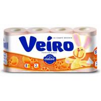 Бумага туалетная Виеро Классик оранжевая 2-х слойная 8рулонов