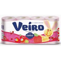Бумага туалетная Виеро Классик розовая 2-х слойная 8рулонов