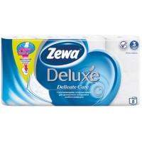 Бумага туалетная Зева Делюкс белая 3-х слойная 8 рулонов
