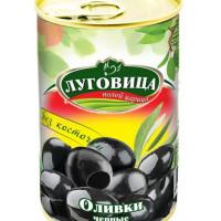 Оливки Луговица черные б/к ж/б 280мл