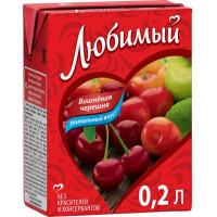 Напиток сокосодержащия Любимый яблоко-вишня-черешня 0,2л