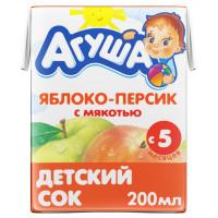 Сок Агуша яблоко и персик с 5мес. 200мл