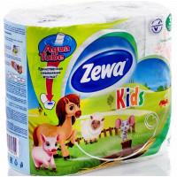 Бумага туалетная Зева детская белая 3-х-слойная 4 рулона