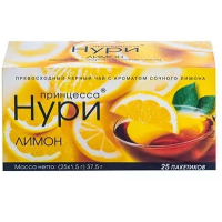 Чай Нури цейлонский байховый с лимоном 25пак. 37,5г