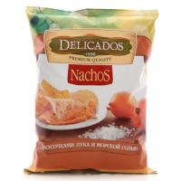 Чипсы Деликадос кукурузные с кусочками лука и морской солью 150г