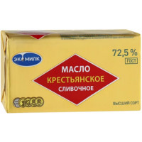 Масло Экомилк сливочное крестьянское 72,5% 180г