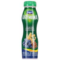 Йогурт Активиа с бифидобактериями черника-5 злаков-льняные семена жир.2,1% 290г