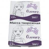 Масса творожная Олонецкий мк с сахаром и изюмом 4,5% 200г