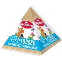 Молоко Вкуснотеево ультрапастеризованное 2,5% 200мл пирамидка