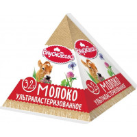 Молоко Вкуснотеево ультрапастеризованное 3,2% 200мл пирамидка