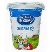Сметана Веселый молочник жир.15% 300г