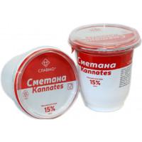 Сметана Славмо стакан 15% 330г соц пакет