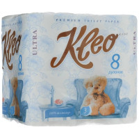 Бумага туалетная Клео 3-х слойная 8рулонов