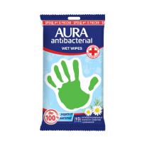 Салфетки Аура влажные антибактериальные с ромашкой 15шт