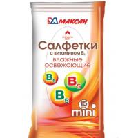 Салфетки максан влажные с витамином В мини 15шт