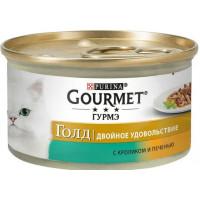 Корм для кошек Гурме Голд с кроликом и печенью 85г ж/б