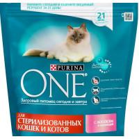 Корм для кошек Пурина Ван для стерилизованных кошек и котов с лососем и пшеницей 200г