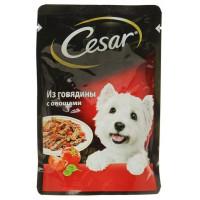 Корм для собак Цезарь из говядины с овощами 100г
