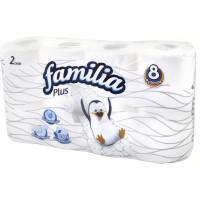 Бумага туалетная Фэмили плюс белая 2-х слойная 8рулонов