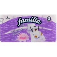 Бумага туалетная Фэмили плюс Волшебный цветок 2-х слойная 8 рулонов