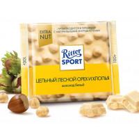 Шоколад Риттер Спорт белый с цельным лесным орехом и хлопьями 100г экстранут