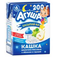 Каша Агуша Засыпай-ка молочно- рисовая с яблоком и грушей 2,5% 200мл