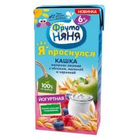 Кашка Фруто-няня молочно-овсяная йогуртная с яблоком, малиной и черникой готовая к употреблению 200мл