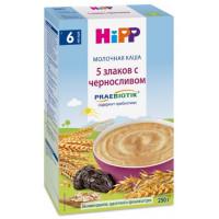 Каша Хипп молочная с пребиотиками 5 злаков с черносливом с 6 мес. 250г