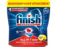 Средство Финиш Пауэрболл лимон для мытья посуды в посудомоечных машинах в таблетках 75шт