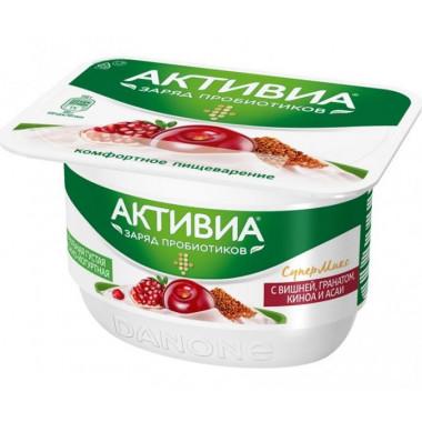 Биопродукт Активиа творожно-йогуртный вишня-гранат-асаи-киноа 4% 130г