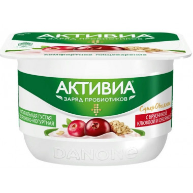 Биопродукт Активиа творожно-йогуртный брусника клюква овсянка 4,0%130г