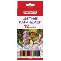 Карандаши 181351 Пифагор Бабочки цветные 12 цв