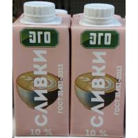 Сливки Эго питьевые 10% 200г