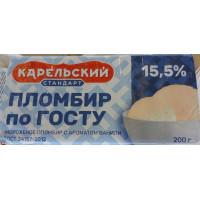 Мороженое Карельский стандарт пломбир по Госту ванильный 200г брикет