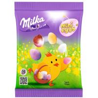 Конфеты Милка из молочного шоколада в форме яиц с разноцветной сахарной оболочкой 100г