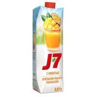 Нектар J7 из апельсина, манго и маракуйи с мякотью 0,97л