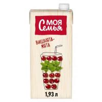 Напиток сокосодержащий Моя Семья Яблоко арония вишня с экстрактом мяты 1,93л
